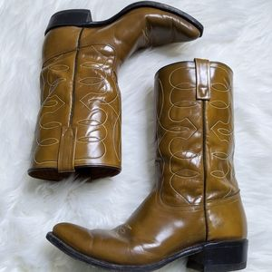 Acme Tan Brown Cowboy Boots Western Leather